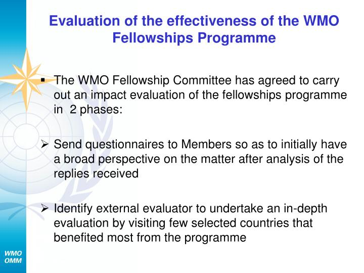 Evaluation of the effectiveness of the WMO Fellowships Programme