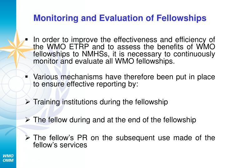 Monitoring and Evaluation of Fellowships