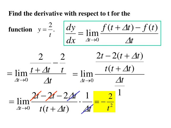 Find the derivative with respect to t for the
