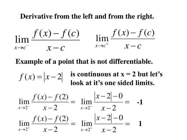Derivative from the left and from the right.