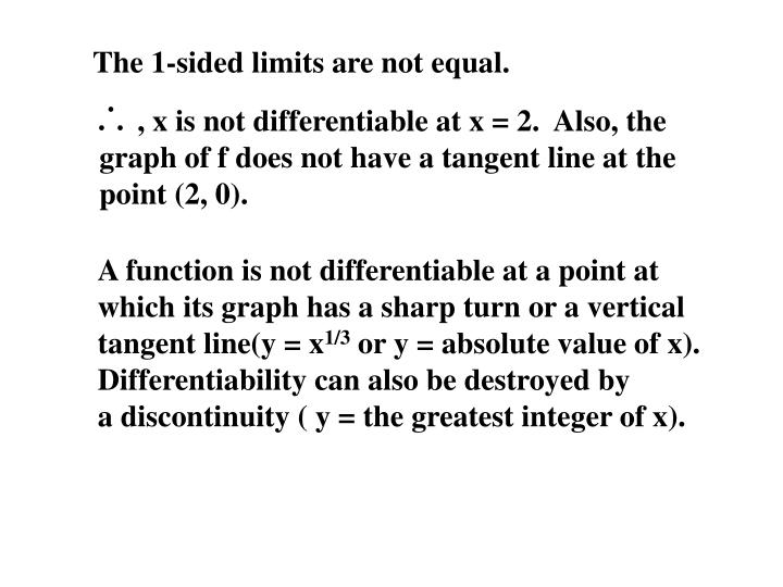 The 1-sided limits are not equal.