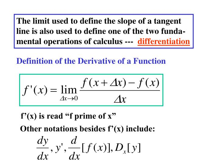 The limit used to define the slope of a tangent