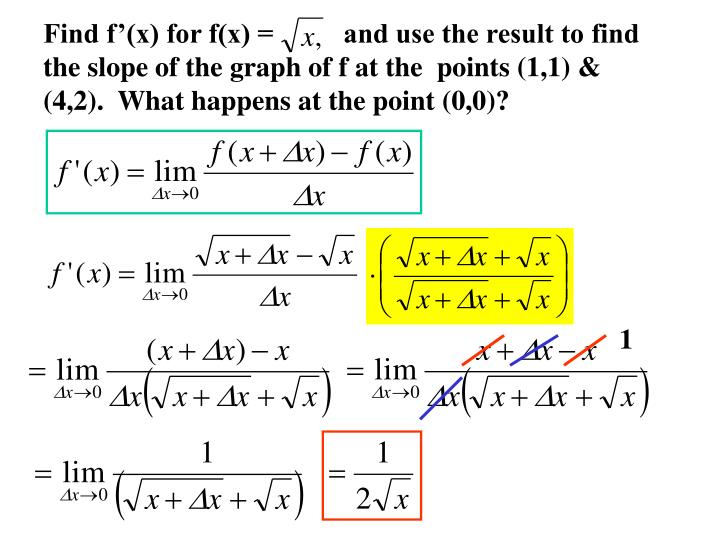 Find f'(x) for f(x) =          and use the result to find