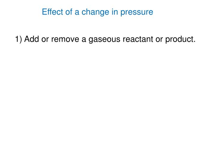 Effect of a change in pressure