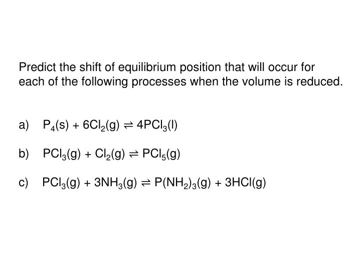 Predict the shift of equilibrium position that will occur for