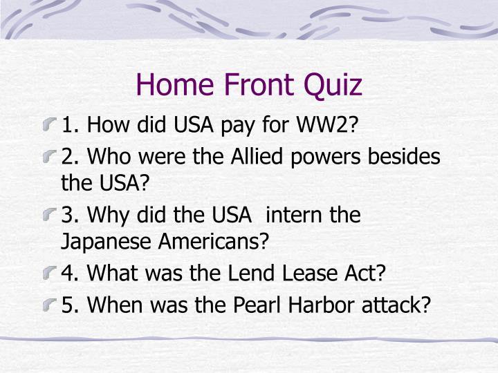 Home Front Quiz