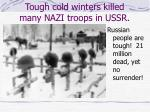 tough cold winters killed many nazi troops in ussr