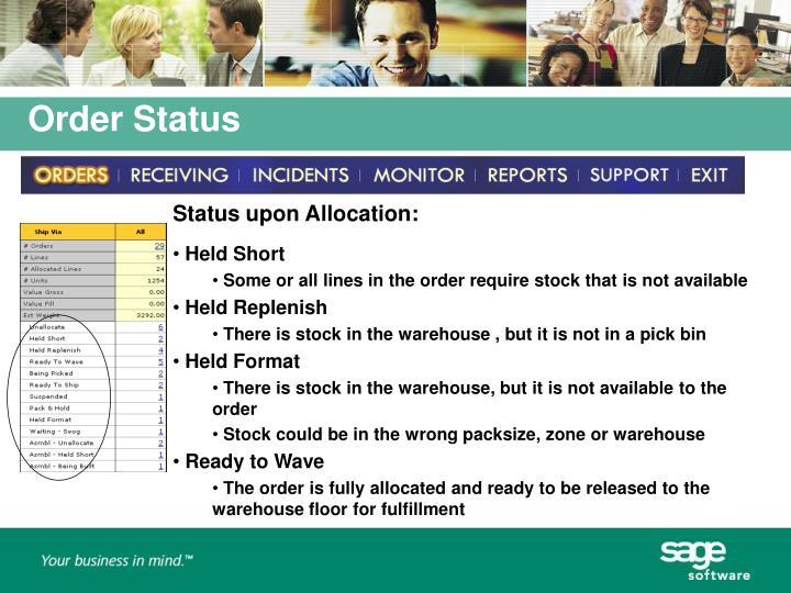 Status upon Allocation: