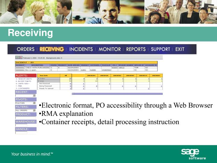 Electronic format, PO accessibility through a Web Browser