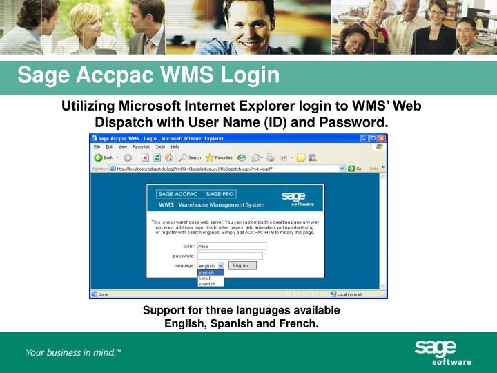 Utilizing Microsoft Internet Explorer login to WMS' Web Dispatch with User Name (ID) and Password.