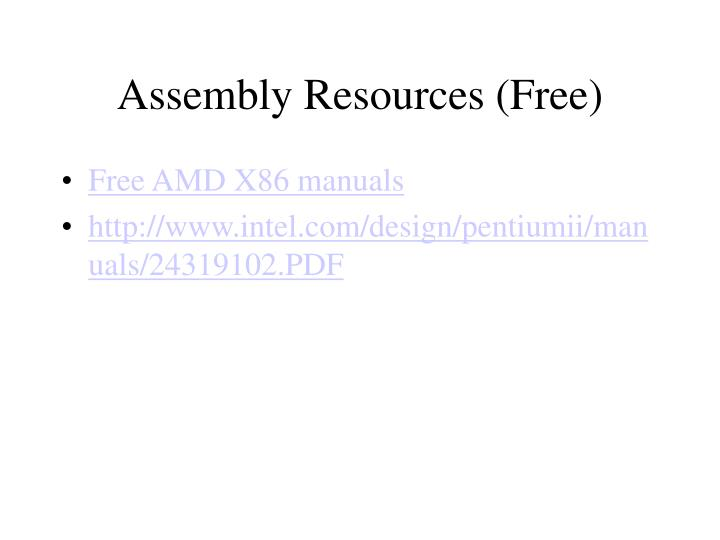 Assembly resources free