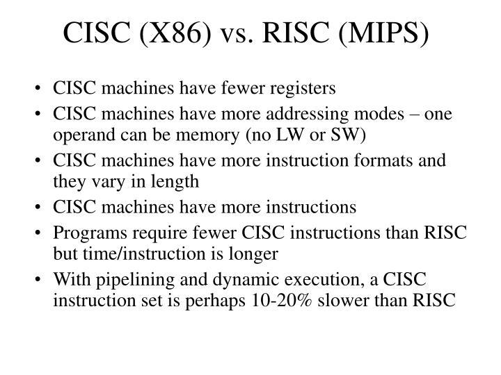 CISC (X86) vs. RISC (MIPS)