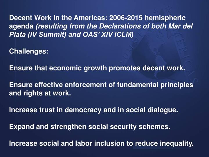 Decent Work in the Americas: 2006-2015 hemispheric agenda