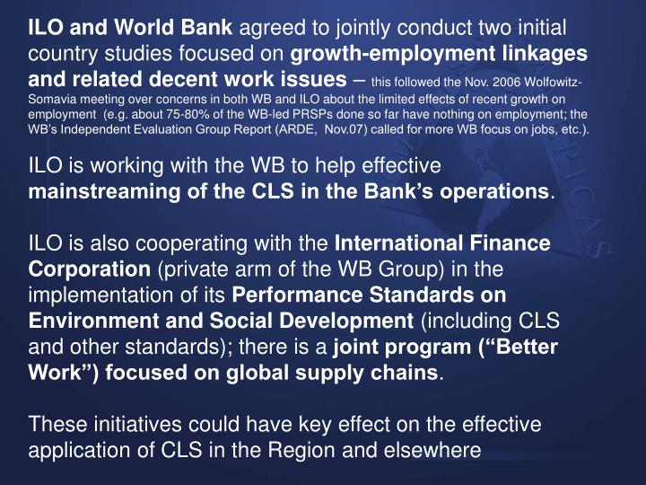 ILO and World Bank