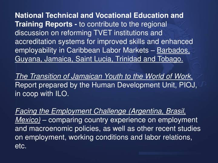 National Technical and Vocational Education and Training Reports -