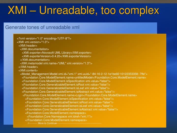 Generate tones of unreadable xml