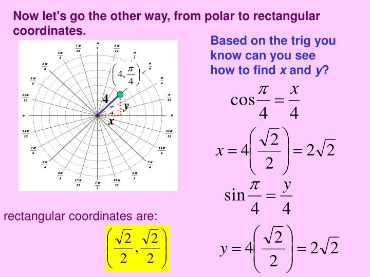Now let's go the other way, from polar to rectangular coordinates.