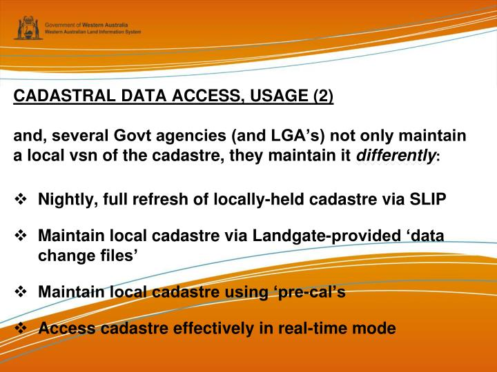 CADASTRAL DATA ACCESS, USAGE (2)