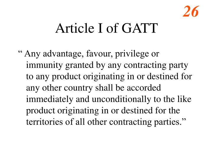 Article I of GATT