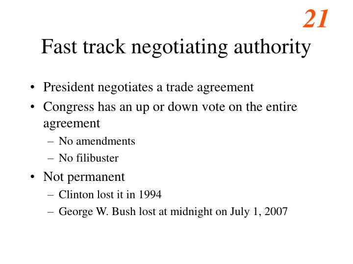 Fast track negotiating authority