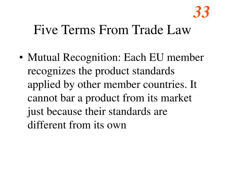 Five Terms From Trade Law