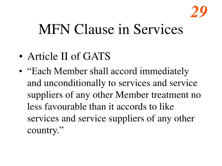 MFN Clause in Services