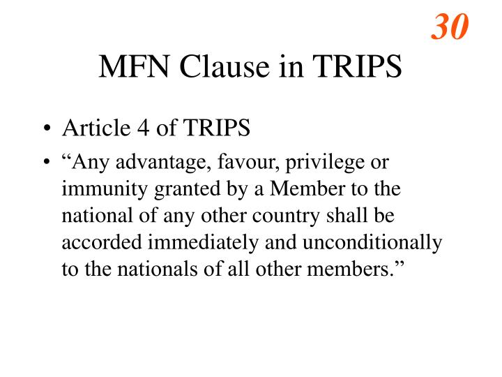 MFN Clause in TRIPS