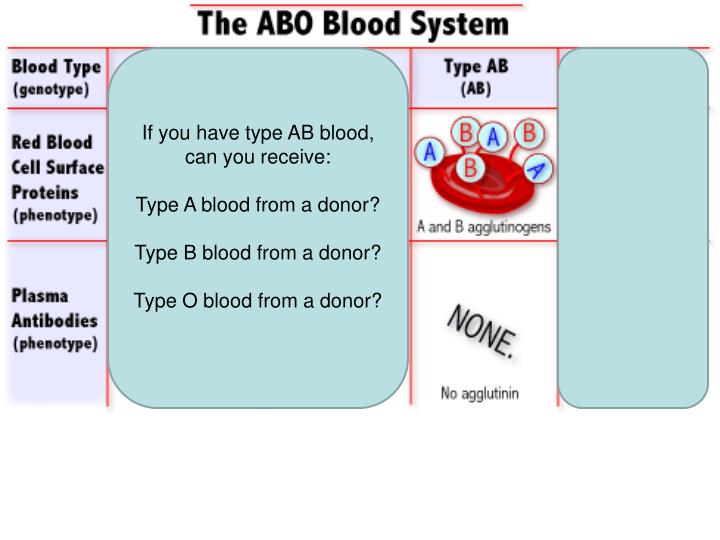 If you have type AB blood, can you receive: