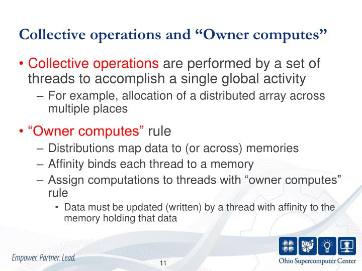 "Collective operations and ""Owner computes"""