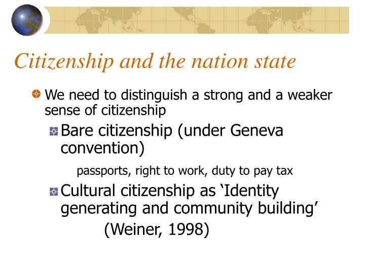 Citizenship and the nation state