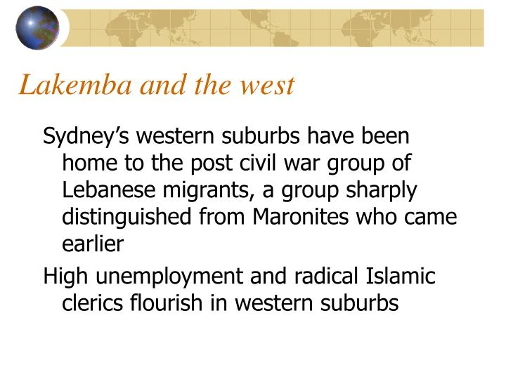 Lakemba and the west