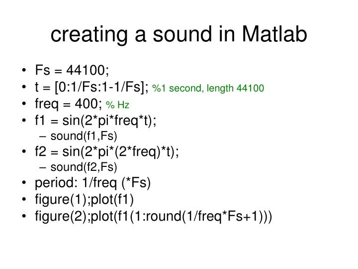 creating a sound in Matlab