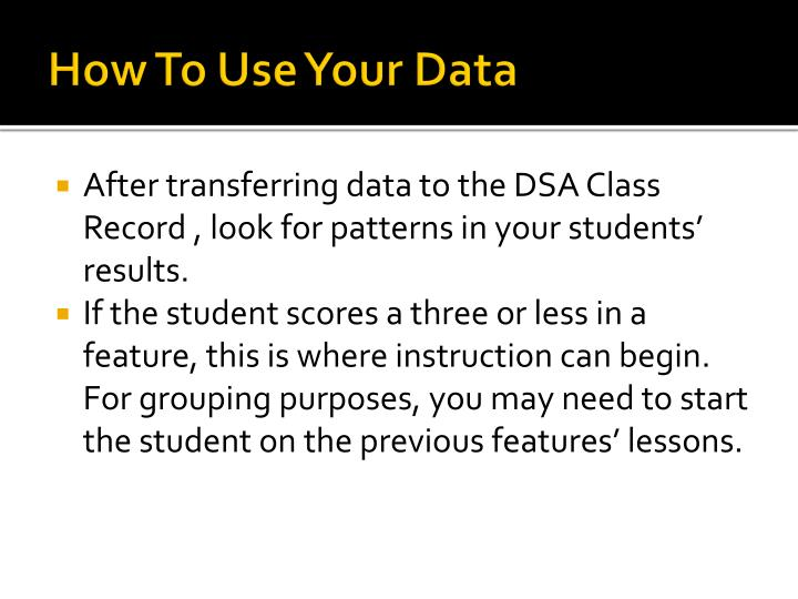 How To Use Your Data