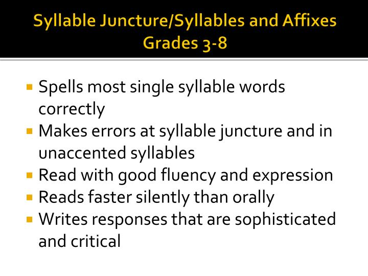Syllable Juncture/Syllables and Affixes