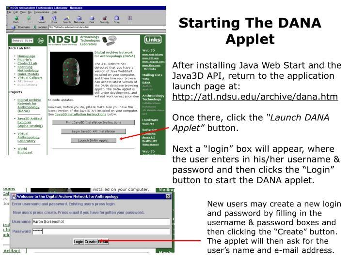 Starting The DANA Applet