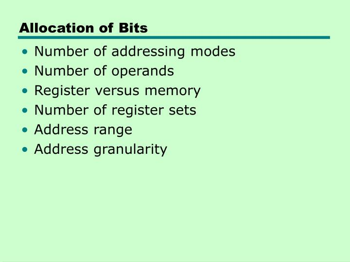 Allocation of Bits
