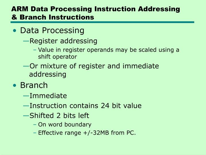 ARM Data Processing Instruction Addressing