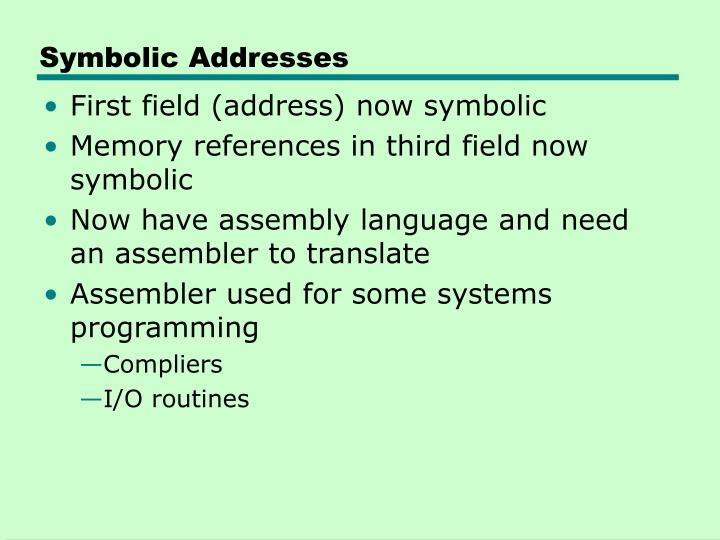 Symbolic Addresses