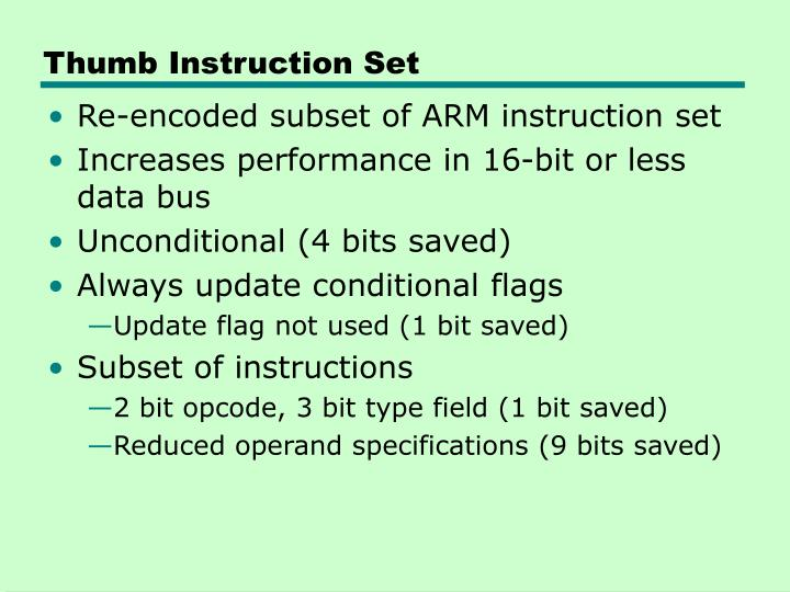 Thumb Instruction Set