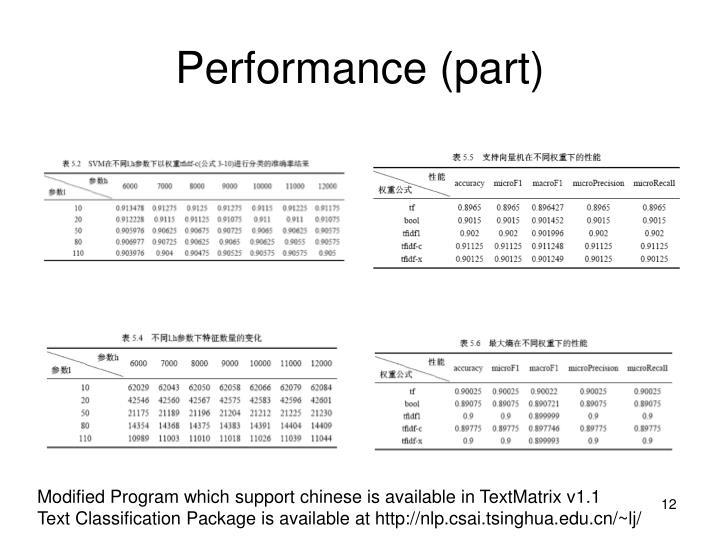 Performance (part)