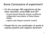 some conclusions of experiment1