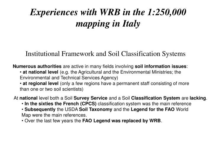 Experiences with WRB in the 1:250,000 mapping in Italy