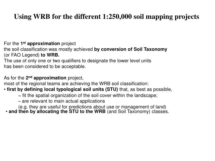 Using WRB for the different 1:250,000 soil mapping projects