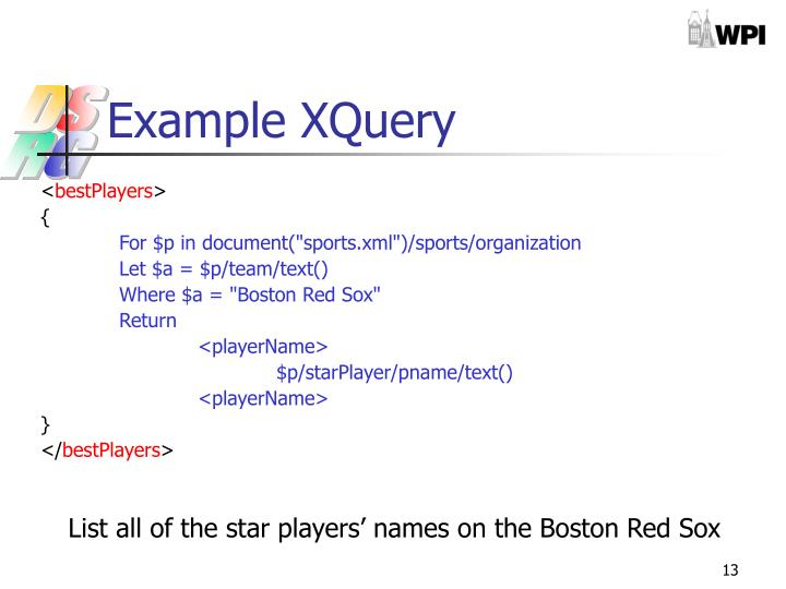 Example XQuery