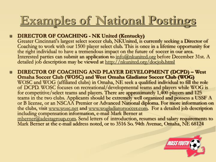 Examples of National Postings