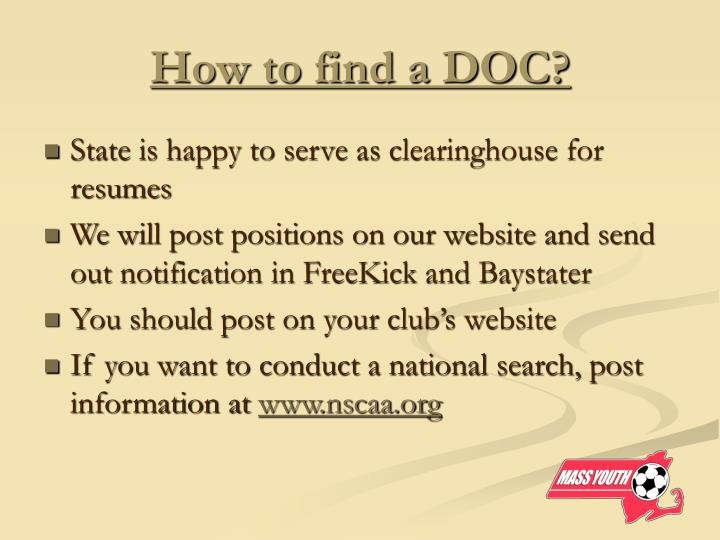 How to find a DOC?