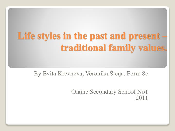 Life styles in the past and present – traditional family values.