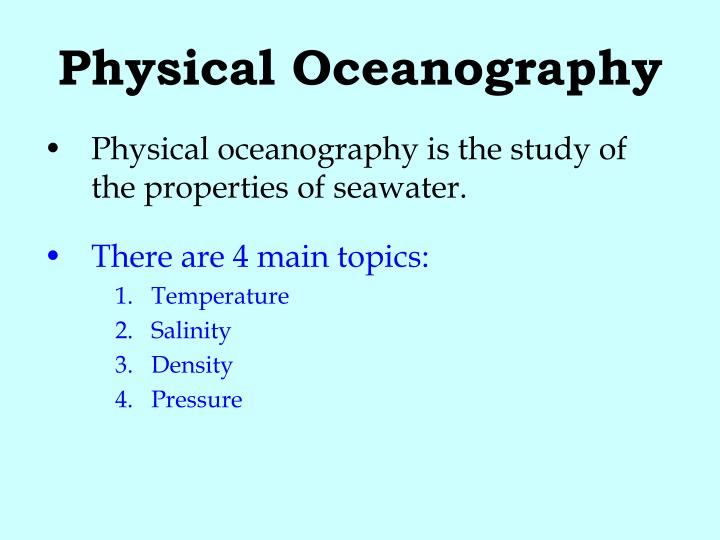 Physical oceanography1