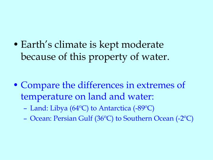 Earth's climate is kept moderate because of this property of water.