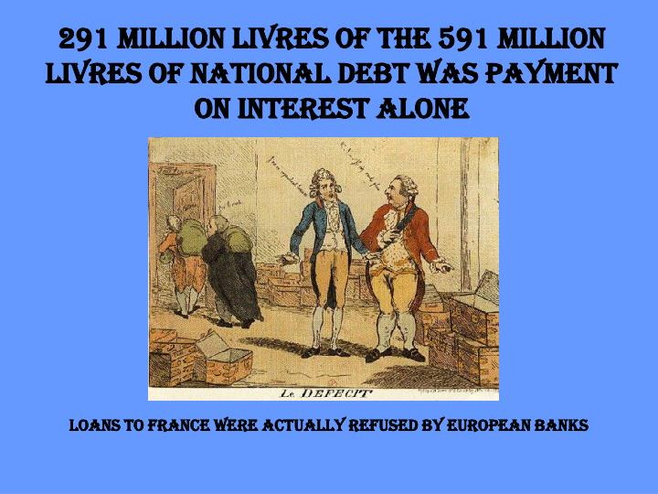 291 million livres of the 591 million livres of national debt was payment on interest alone